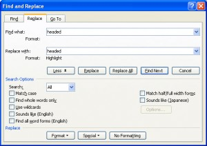 Microsoft Word's Find and Replace Dialog Box