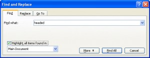 Microsoft Word Find Dialog box